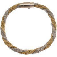 Bracelete De Aço Inox Tudo Jóias 6Mm De Largura Entrelaçado Prata/Gold