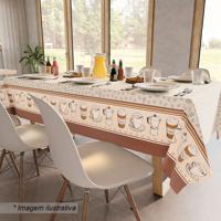 Toalha De Mesa Café- Marrom & Off White- 210X140Cmteka