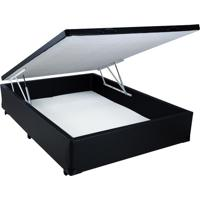 Cama Box Baú Casal Black Em Corino Com Pistão Hidráulico - 138X188