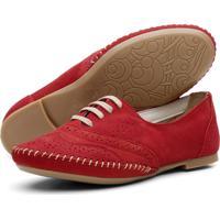 Sapato Oxford Casual Conforto Em Couro Q&A 15360 Vermelho