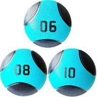 Kit 3 Medicine Ball Liveup Pro 6 8 E 10 Kg Bola De Peso Treino Funcional - Unissex
