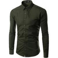 Camisa Social Slim Fit Solid - Verde Escuro
