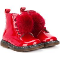 Monnalisa Ankle Boot Com Pompom - Vermelho