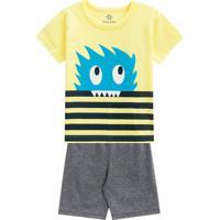 Pijama Monstro Com Listras- Amarelo & Cinza- Kids