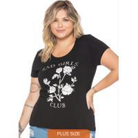 T-Shirt Básica Viscolycra Com Estampa Preto