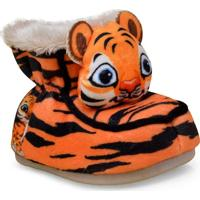 Pantufa Masc Infantil Ferpa 48 Bebe Tigre Laranja/Preto