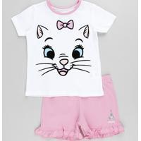 Pijama Infantil Marie Manga Curta Off White