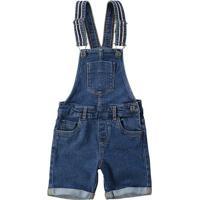 Jardineira Jeans Com Bolsos- Azul Escuro- Primeiros Carinhoso