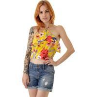 Top Frente Unica Flor Gabriela - Feminino-Amarelo