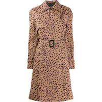 Ps Paul Smith Trench Coat Com Animal Print - Marrom