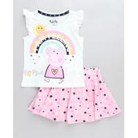 Conjunto Infantil Peppa Pig De Regata Off White + Short Saia Estampado De Estrelas Rosa
