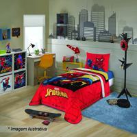 Edredom Spider Man® - Solteiro- Vermelho Amarelo- Lepper