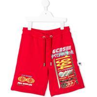Gcds Kids Bermuda Esportiva Com Estampa Gráfica - Vermelho