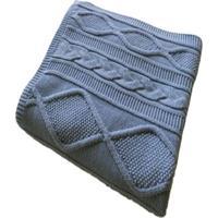 Manta Decorativa Tricot 120Cm X 150Cm Cod 1037.1 Azul Bebe