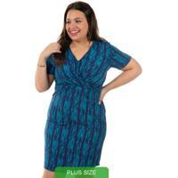 Vestido Estampado Azul Cativa Mais