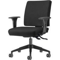 Cadeira Simple Com Braco Assento Courino Preto Base Nylon Piramidal - 54936 - Sun House