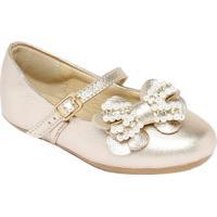 Sapato Boneca Com Laço Frontal - Dourada- Luluzinhaluluzinha