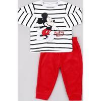 Conjunto Infantil Mickey Em Plush De Blusão Listrado + Calça Vermelha