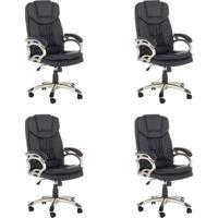 Conjunto Com 4 Cadeiras De Escritório Clark Preto