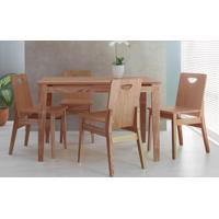 Sala De Jantar Com Mesa E 4 Cadeiras Tucupi 120Cm - Acabamento Stain Nozes