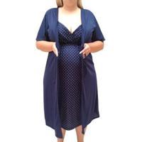 Conjunto Plus Size Linda Gestante Camisola De Alcinha Com Robe Maternidade - Feminino-Marinho