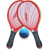 Kit Frescobol 2 Raquetes Impar Sports + 1 Bolinha - Unissex-Vermelho+Branco
