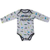 Body Flik Infantil Bebê Menino - Cinza