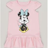 Vestido Minnie Com Babado Rosa