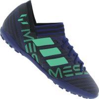 Chuteira Society Adidas Nemeziz Messi Tango 17.3 Tf - Infantil - Azul Esc/Verde