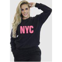 Blusa Moletom Feminino Moleton Básico Suffix Preto Estampa New York City Rosa Bebe