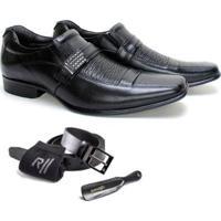 Kit Rafarillo Sapato Couro Meia Cinto Calçadeira Masculino - Masculino-Preto