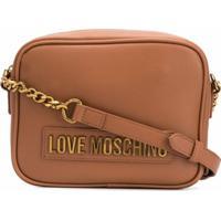 Love Moschino Bolsa Transversal Com Placa De Logo E Alça De Corrente - Marrom