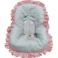 Capa De Bebe Conforto Atelie Baby E Cia Cinza Chevron E Rosa