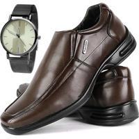 Sapato Casual Sapatofran Social Ortopédico Confort Gel Café Com Relógio