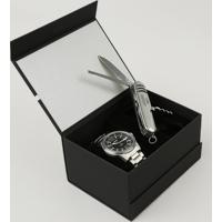 Kit De Relógio Analógico Orient Masculino + Canivete - Mbss1276 Kc16P2Sx Prateado - Único