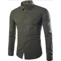 3d332dfe7d54f Camisa Social Lacoste Original. Camisa Social Masculina Slim Manga Longa -  Verde Exército