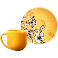 Xícara De Café Com Pires Coup Ii Amarelo E Floral