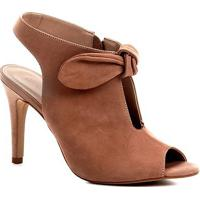 Sandália Couro Shoestock Salto Fino Laço Feminina - Feminino-Nude