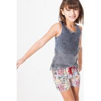 Blusa Infantil Barra Tecido Reserva Mini Feminina - Feminino-Cinza