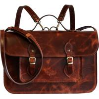 Mochila / Bolsa / Pasta (3 Em 1) - Line Store Leather Satchel N°2 Média Couro Conhaque Vintage - Kanui
