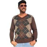 Blusa Tricot Bento Suéter Masculina Shopping Do Tricô Inverno Xadrez
