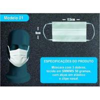 Máscara De Proteção Descartável Smmms 50 Gsm 100% Não-Tecido Caixa Com 50 Unidades Branco