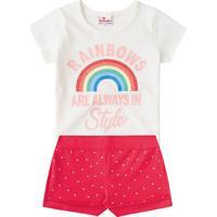"""Conjunto De Blusa """"Rainbows"""" + Short- Branca & Pink-Brandili"""