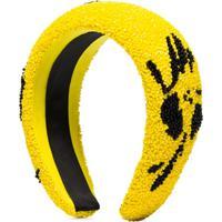 Ganni Headband Floral Com Contas - Amarelo