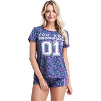 Pijama Short Doll Conhas Feminino Adulto Luna Cuore