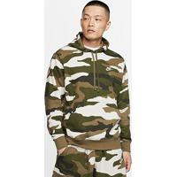 Blusão Nike Sportwear Club Hoodie Camuflado Masculino - Masculino-Verde+Branco