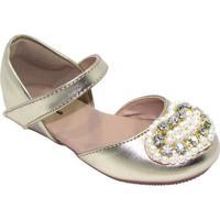 Sapato Boneca Com Pedrarias - Dourada- Luluzinhaluluzinha