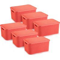 6 Caixas Organizadoras Rattan Grande Cor Coral 28X38,5X19 Cm - Tricae