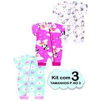 Kit 3 Macacão Bebê Menina Verão Algodão Enxoval Multicolorido