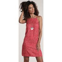 Vestido Feminino Estampado Poá Decote Reto Vermelho